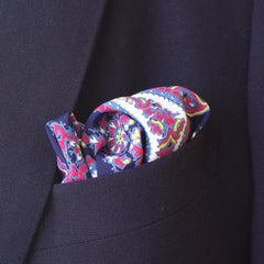 Bold Navy and Red Paisley Rayon Pocket Square by Put This On