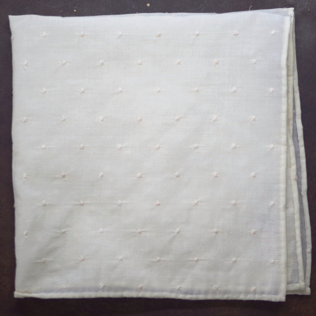 Textured Cream Cotton Pocket Square by Put This On