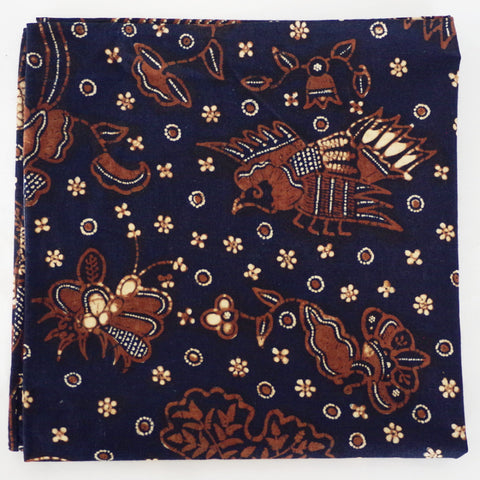 Intriguing Garden-Pattern Navy Cotton Pocket Square by Put This On