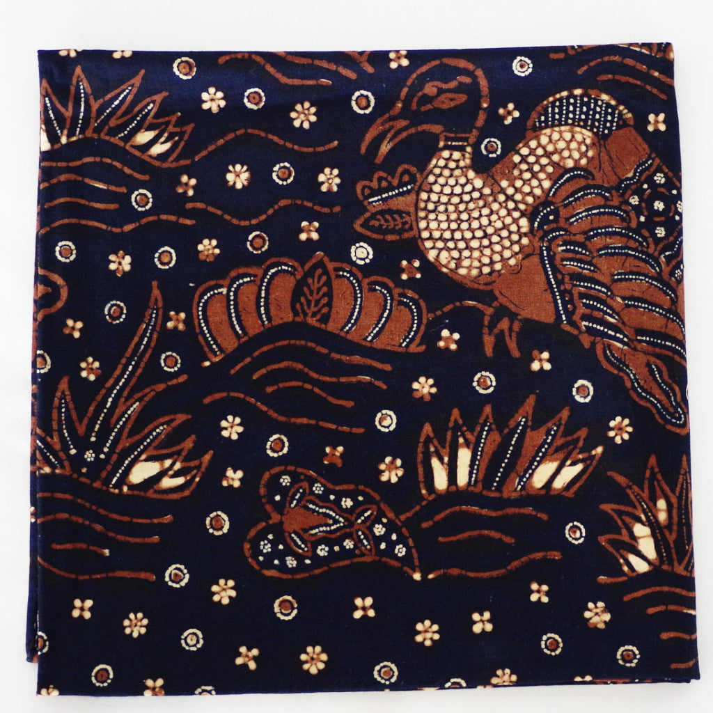 Majestic Bird Navy and Brown Cotton Pocket Square by Put This On
