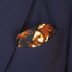 Rich Navy and Brown Cotton Pocket Square by Put This On