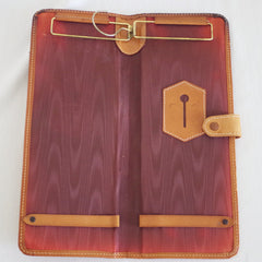 Purple-Lined Tan Leather Tie Case