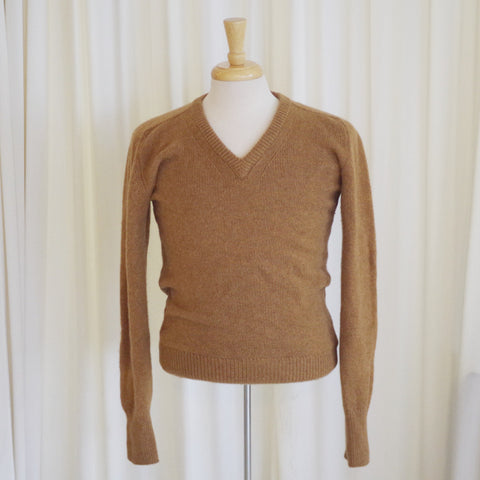 Vintage Alan Paine Khaki Cashmere V Neck Sweater- S