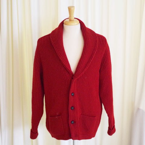 Vintage Brooks Brothers Red Shawl Collar Cardigan- XL