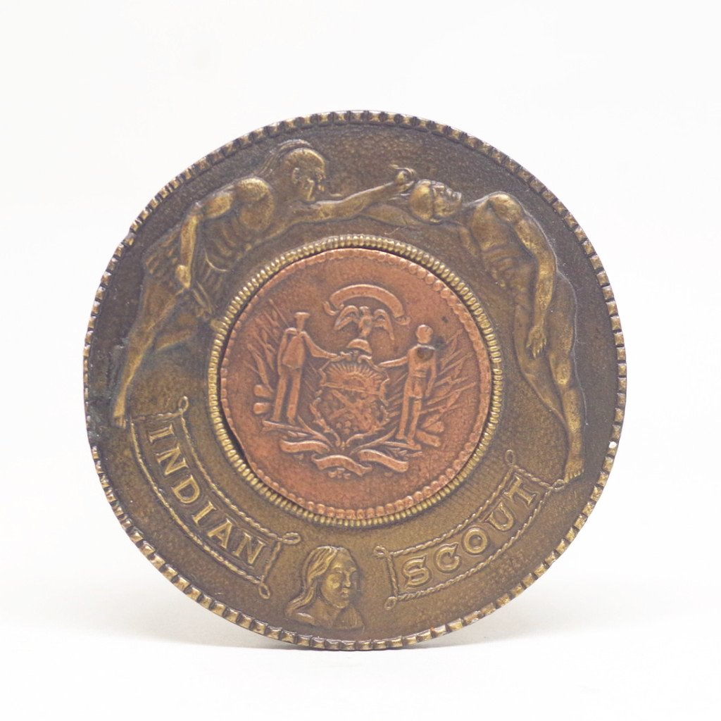 "Brass and Copper ""Indian Scout"" Belt Buckle"