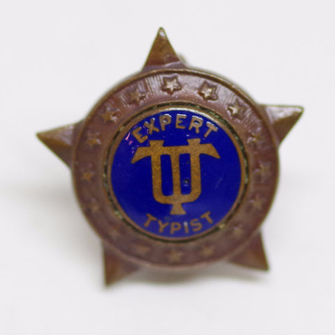 "Vintage Underwood Typewriter ""Expert Typist"" Pin"