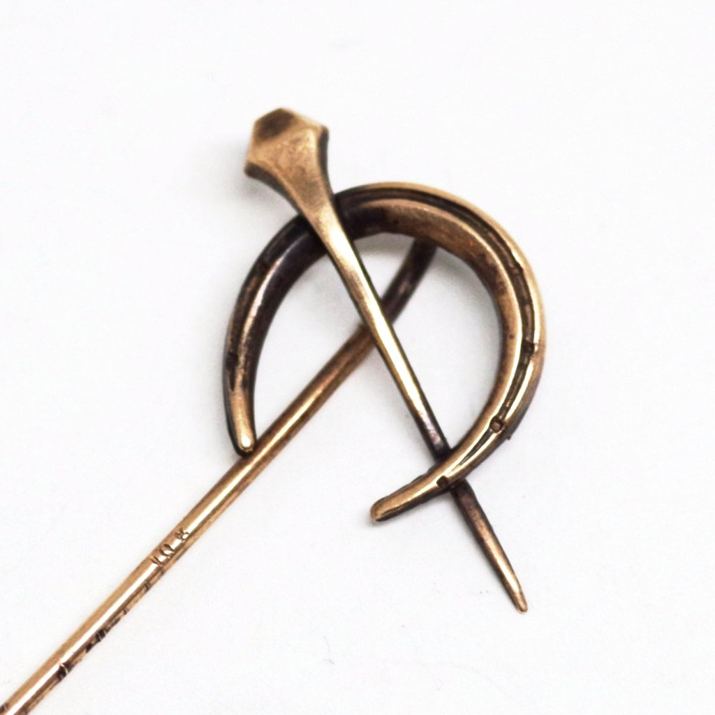 10k Gold Horseshoe and Spike Stick Pin