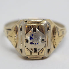 10k Gold and Sterling Silver Crest Ring