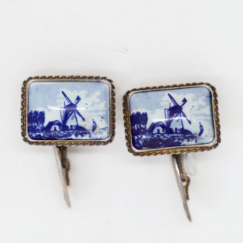Dutch Windmill Procelain & Silver Cufflinks