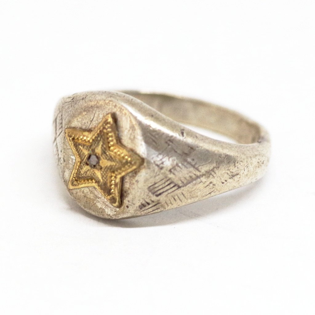 18kt Gold Star on Sterling Ring