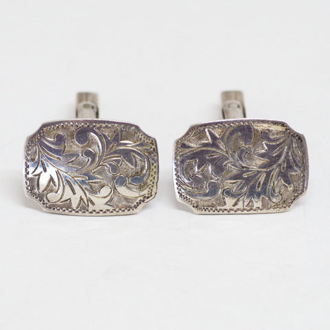 Sterling Leaf Pattern Etched Cufflinks