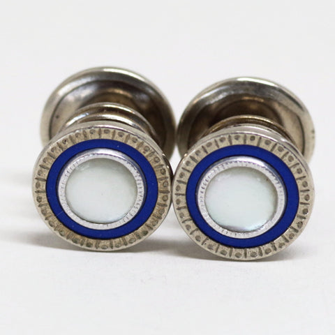 Blue Mother of Pearl Snap Cufflinks