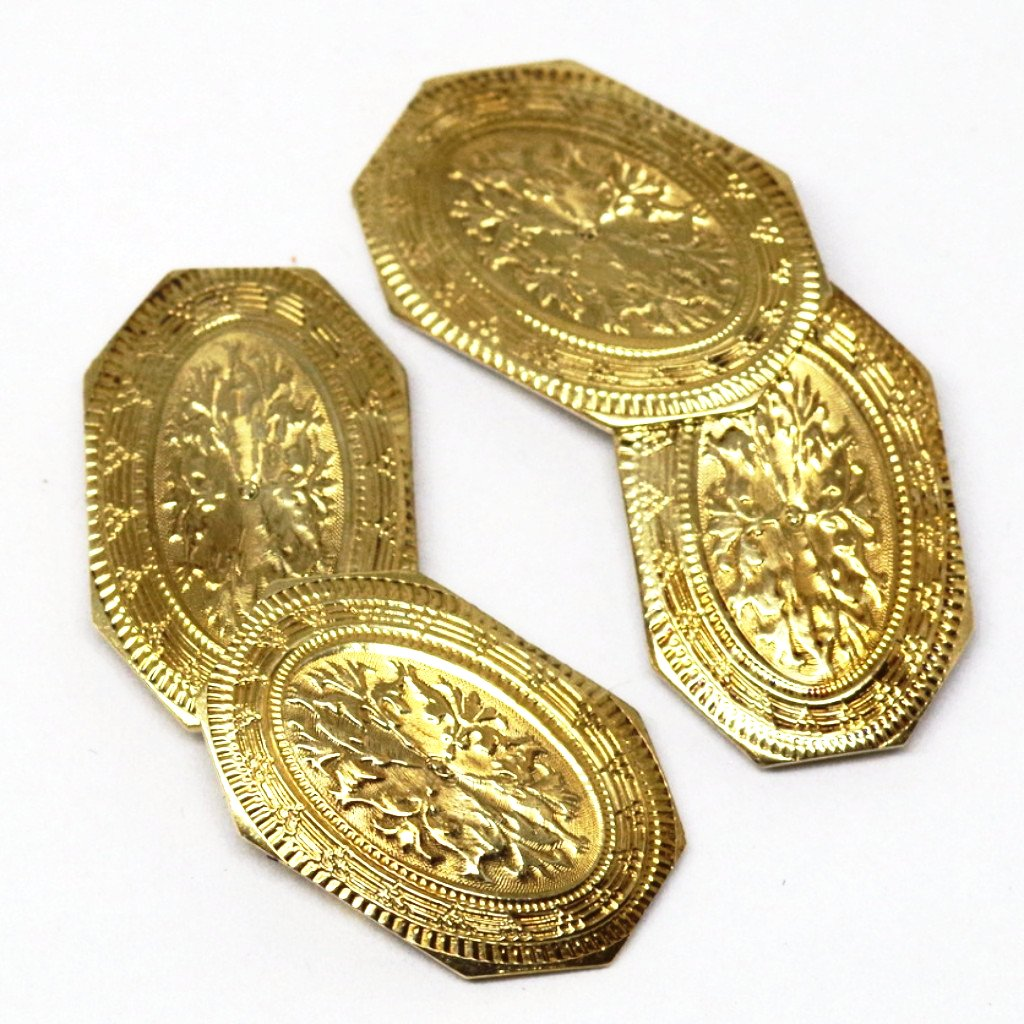 14kt Gold Edwardian Engraved Cufflinks