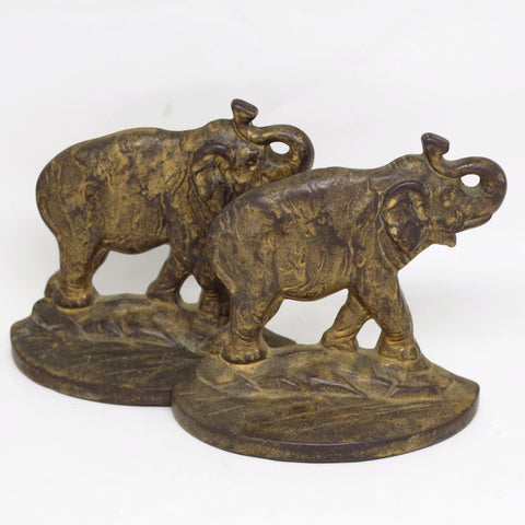 Roaring Elephant Brass Bookends