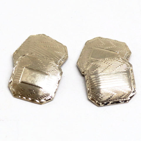 14kt Gold Multi-patterned Etched Cufflinks