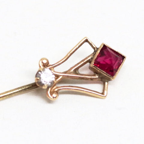 10kt Gold Stick Pin w/ Ruby & Diamond