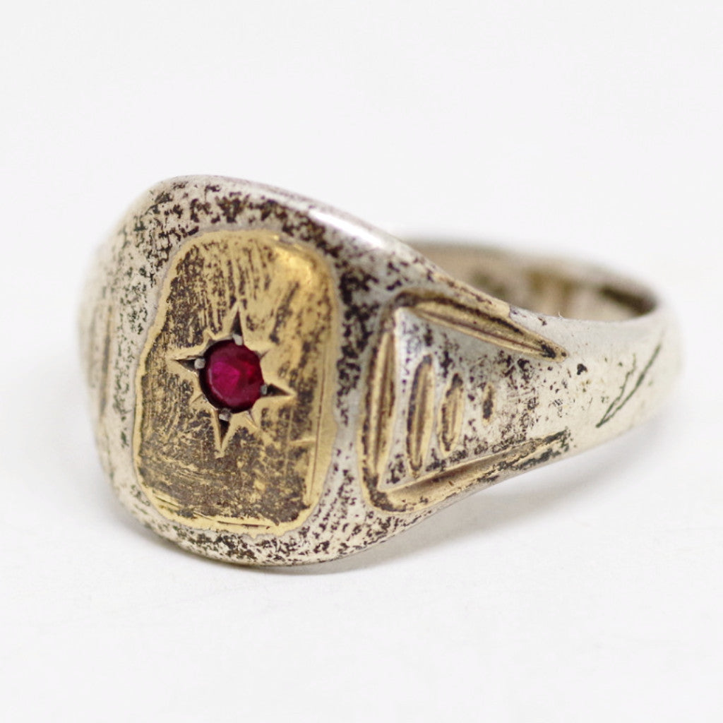 Gold on Silver Mountain Ring w/ Red Gem