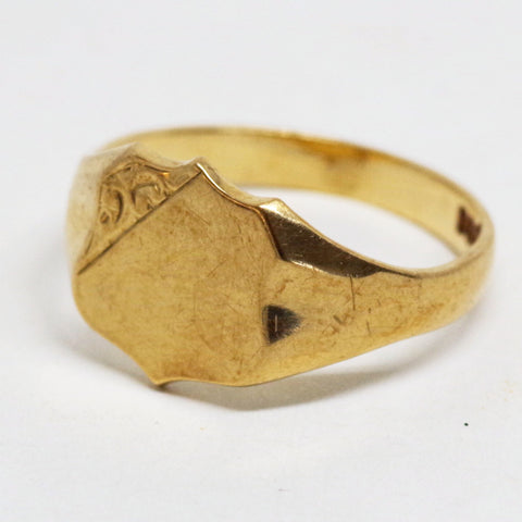 Edwardian 9kt Gold Crest Ring