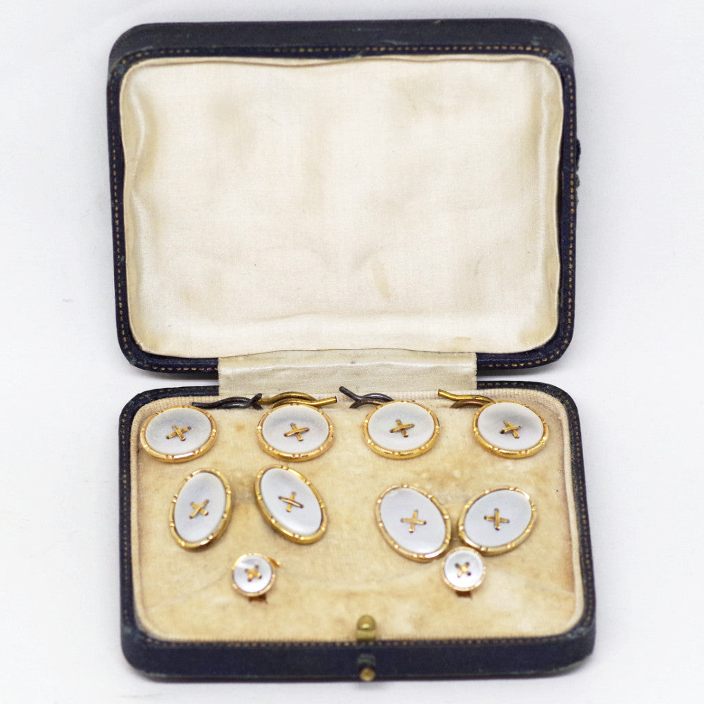 Stunning Edwardian 9kt Gold and Mother of Pearl Dress & Button Set