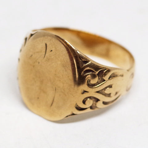 10k Gold Ornate Signet Ring
