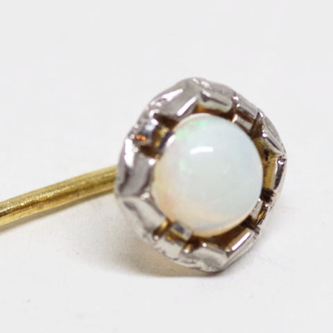 14k Gold and Platinum Opal Stick Pin
