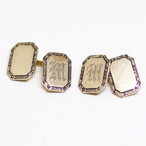"Antique Gold ""M"" Monogram Cufflinks"