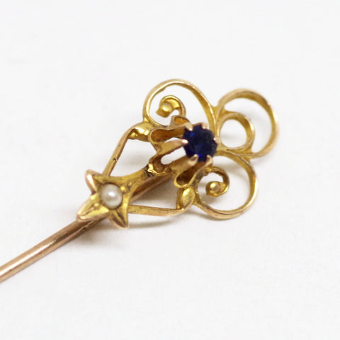 10kt Gold Blue and Pearl Stick Pin