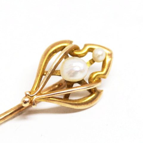 14kt Gold Ornate Pearl Stick Pin