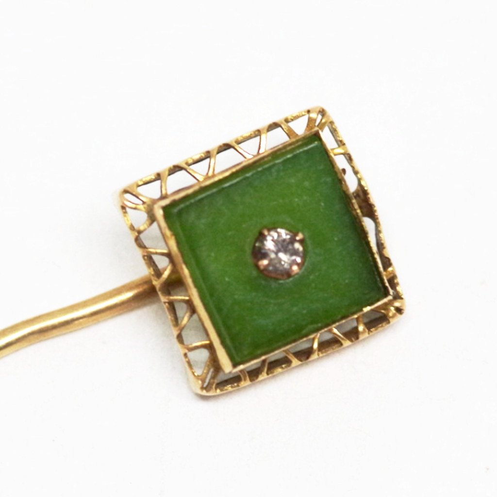 10kt Green and Diamond Stick Pin