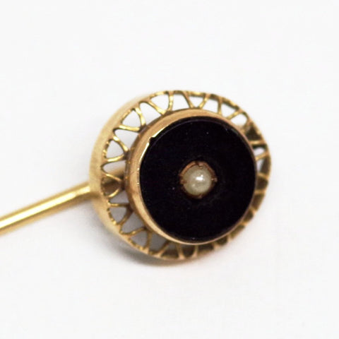 10kt Gold Black and Pearl Stick Pin