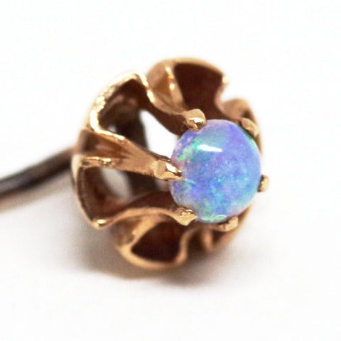 10kt Gold Brilliant Blue Opal Stick Pin