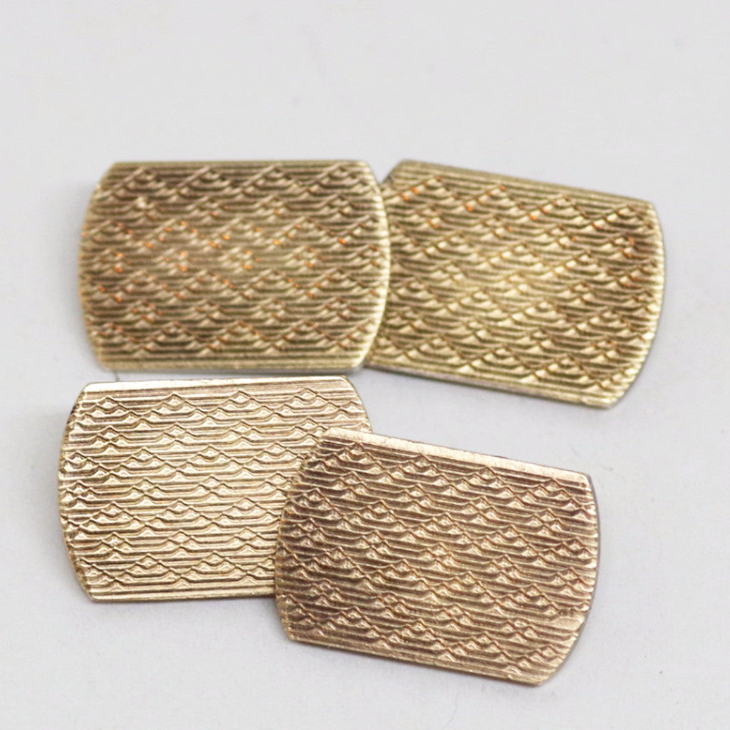 Edwardian Gold on Silver Etched Cufflinks