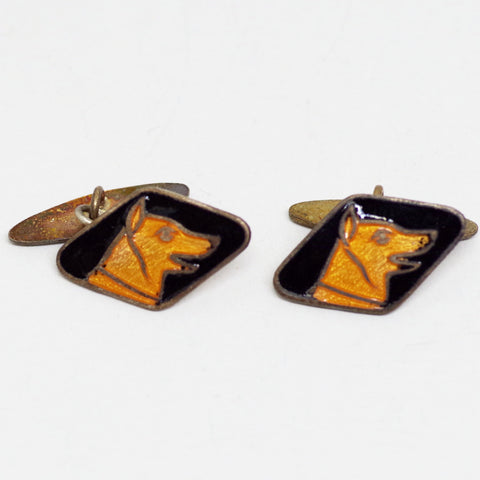 Orange and Black Enamel Dog Portrait Cufflinks
