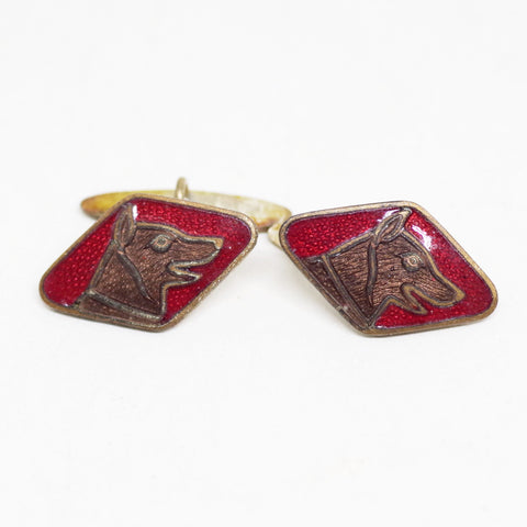 1920s Red Enamel Dog Portrait Cufflinks