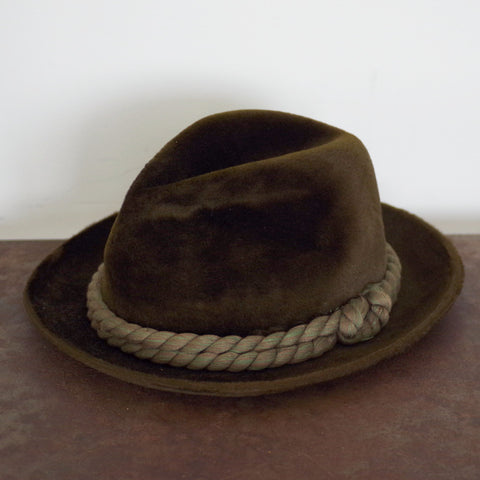 Vintage Brown Velour Rope Band Homburg- 7 3/4