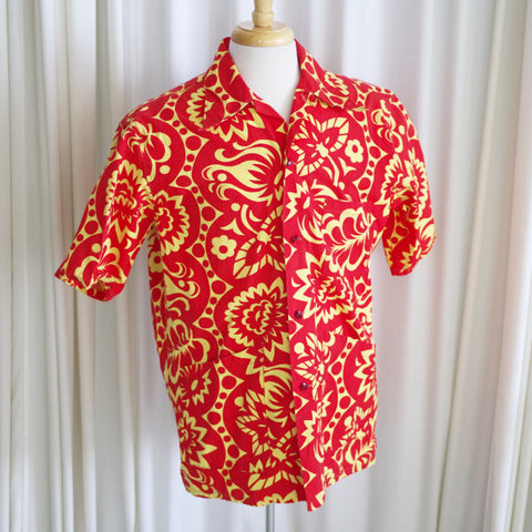 Vintage 1950s Red and Yellow Cotton Aloha Shirt- M/L