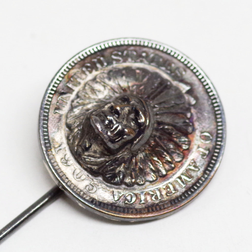 Native American Coin Portrait Stick Pin