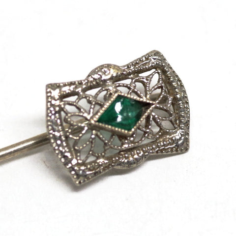 10kt White Gold Stick Pin w/ Emerald Stone
