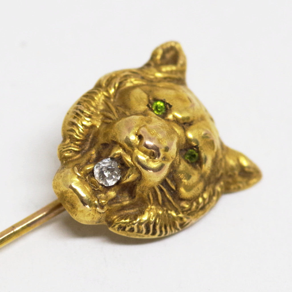 Multiple Gem Inlaid Cat Stick Pin