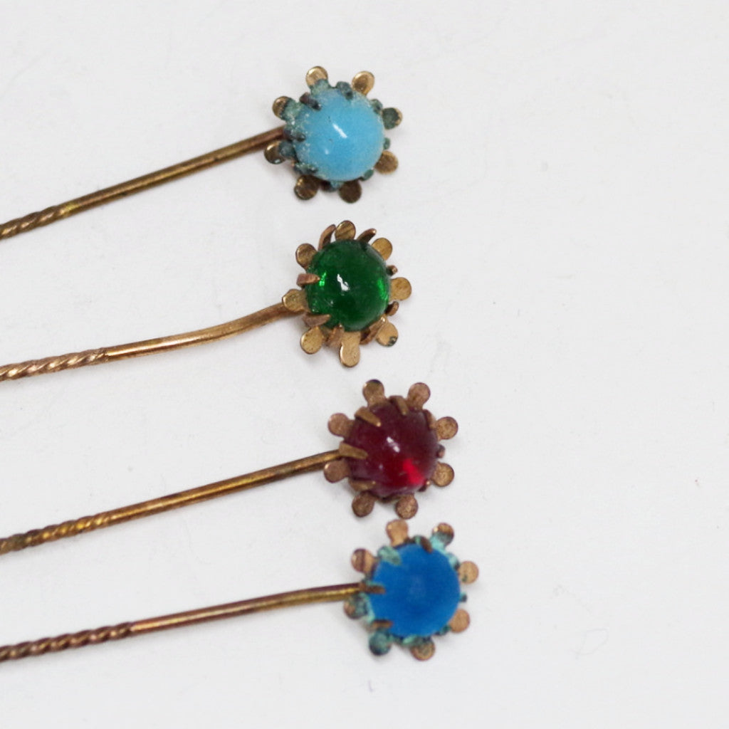 Early 20th Century Gilt Gem Stick Pins