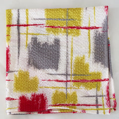 Painterly Red, White, and Yellow Seersucker Cotton Pocket Square by Put This On