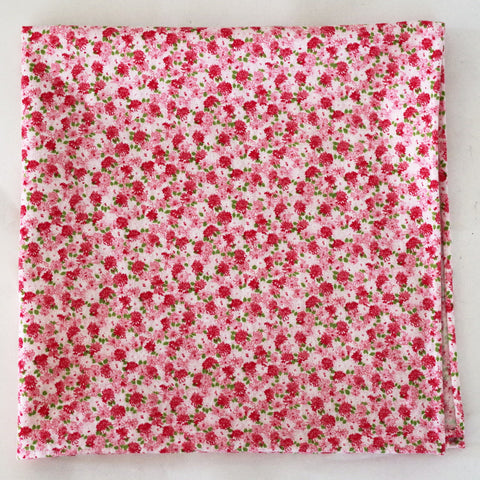 Gentle Pink and Red Floral Cotton Pocket Square by Put This On