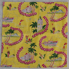 Vacationing Aloha Yellow, Red, and Green Cotton Pocket Square by Put This On
