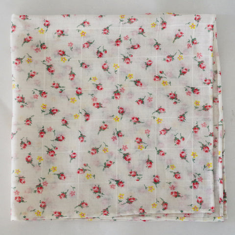 Airy White Floral Cotton Pocket Square by Put This On