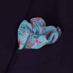 Serene Light Blue and Pink Floral Cotton Pocket Square by Put This On
