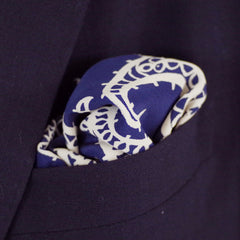 Midnight Blue and White Paisley Rayon Pocket Square by Put This On