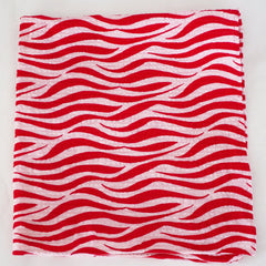Wavy Red and White Seersucker Cotton Pocket Square by Put This On