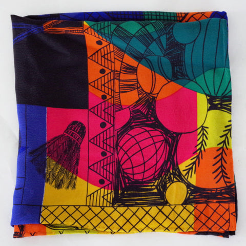 Recreational Multicolored Hobby Print Silk Pocket Square by Put This On