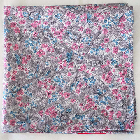 Charming Light Blue and Pink Floral Cotton Pocket Square by Put This On