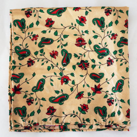 Earthy Ecru Floral Silk Pocket Square by Put This On